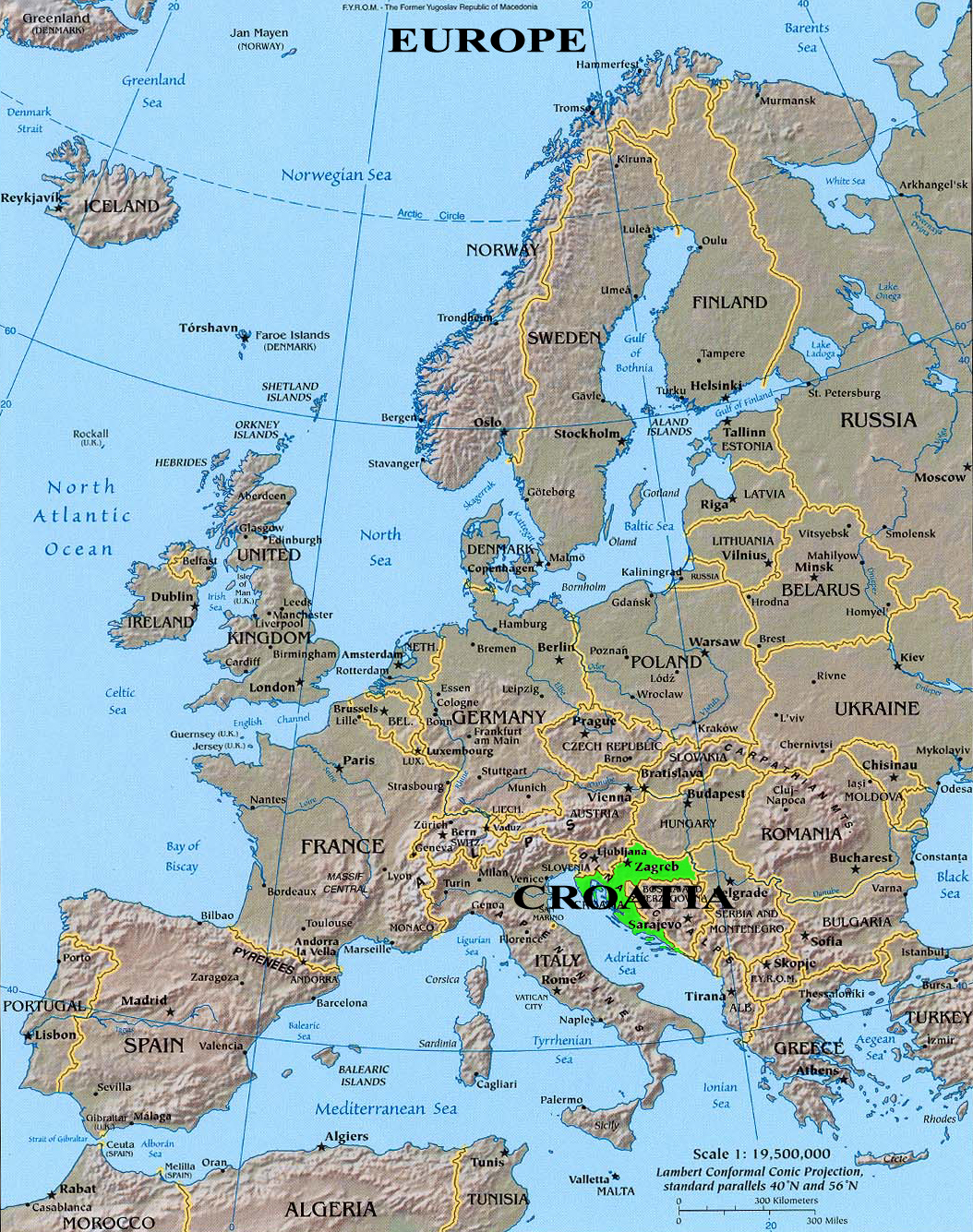 karta europa kroatien KROATIEN PÅ KARTAN I EUROPA | Vintage Croatia karta europa kroatien